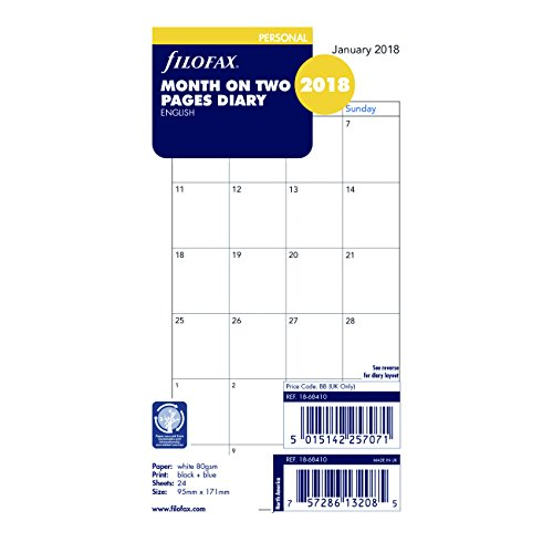 Filofax 2018 Personal/Compact Month to View Refill, Monthly, Jan 2018- Dec 2018, 6.75 x 3.75 inches (C68410-18) (Filofax Calendar Personal)