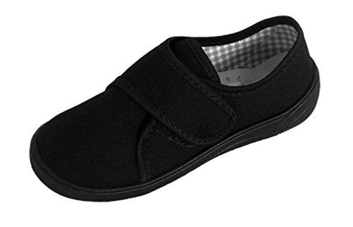 Excelentes zapatillas para niños ligeras, de lona, color negro, para el colegio negro