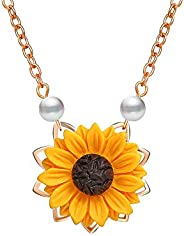DIDA Sunflower Pearl Leaf Chain Resin Boho Handmade Drop Pendant Choker Necklace Plated Gold/Rose Gold/Silver