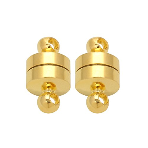 Linsoir Beads 10 Sets Small Magnetic Barrel Clasps Magnetic Fasteners Perfect for Arthritis Person 6mmX11mm Gold Finish