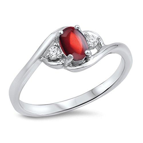 925 Sterling Silver Cabochon Natural Genuine Red Garnet Oval Cluster Ring Size 10 (Garnet Cluster Genuine)