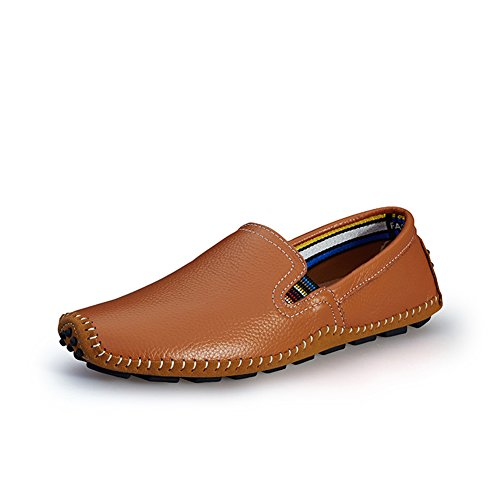 Go Tour Mens Casual Scarpe Da Guida Fatte A Mano Slip On Mocassino Marrone 45