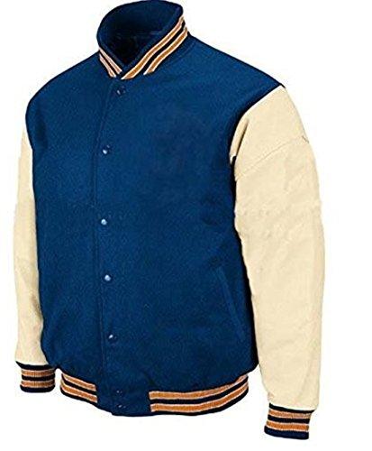 Original Windhound College Jacke persisch blau mit creme Echtleder Ärmel L