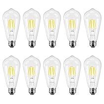 DiCUNO Edison Bulb Medium E26 Standard Base Dimmable ST64 6W 60W Equivalent 2700K Warm White/4500K Daylight White Vintage LED Light Bulb
