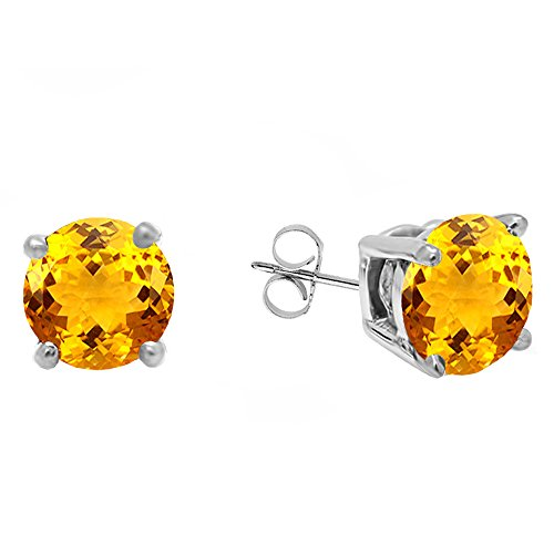 - Dazzlingrock Collection 18K 5 MM Each Round Citrine Ladies Solitaire Stud Earrings, White Gold
