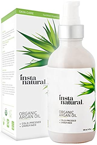 InstaNatural Organic Argan Oil - For Hair, Face, Skin &