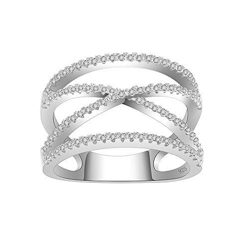 Lavencious Clear Crossover X Ring 925 Sterling Silver Statement with White AAA CZ Criss Cross (Silver, -