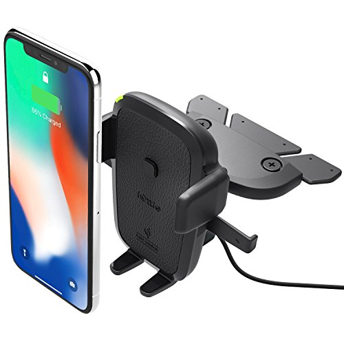iOttie Easy One Touch Qi Wireless Fast Charge CD Slot Mount for Samsung Galaxy S9 S8 Plus Edge Note 9 & Standard Charge for iPhone Xs Max R 8 Plus & Qi Devices Includes Dual Charger