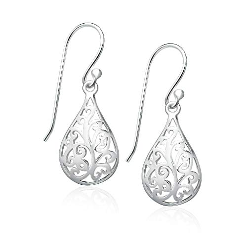 Big Apple Hoops - High Polish Sterling Silver Delicate Filigree Oval Round Teardrop Dangle Earrings Made from Solid 925 Sterling Silver Special Fashion Gift for Women, Teens, Men