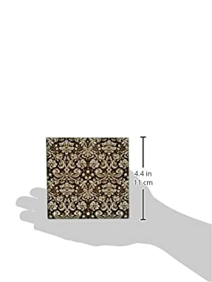 InspirationzStore Damask patterns - Black damask with white stylish swirly French floral pattern Vintage sophisticated flowery wallpaper - Tiles