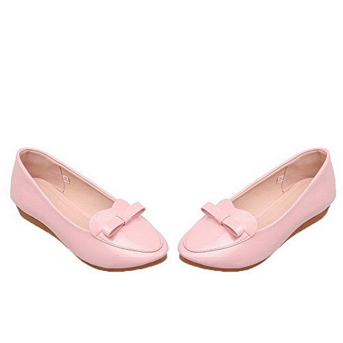 Rond Légeres Femme Chaussures Unie Verni Bas Couleur À Tire Rose Talon Agoolar 8xvw6dZqq