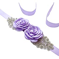 Vicokity Bridal Wedding Dress Sash Belt With Crystal Bead Pearls Rhinestone Belt Flowers Belts For Womens