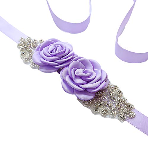 Vicokity Bridal Wedding Dress Sash Belt With Crystal Bead Pearls Rhinestone Belt Flowers Belts For Womens ()
