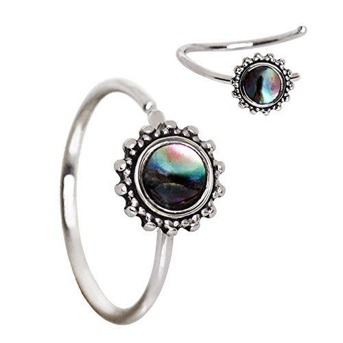 Flowers Hoop Ring (Amelia Fashion 20 Gauge Bendable Abalone Shell Nose Hoop / Cartilage Ring Annealed 316L Surgical Steel (Silver & Abalone))