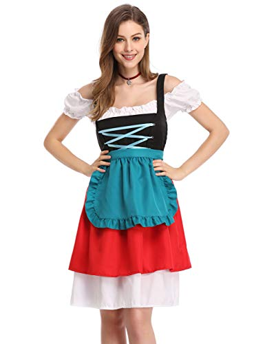 GloryStar Women's German Dirndl Dress Costumes for Bavarian Oktoberfest Carnival Halloween (2XL, Red/Green-2)