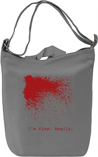 I'm fine Borsa Giornaliera Canvas Canvas Day Bag| 100% Premium Cotton Canvas| DTG Printing|