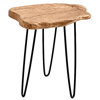 WELLAND Cedar Wood Stump End Table Rustic Surface Side Table With Black 3-Leg Metal Stand