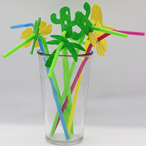 [Musykrafties Cactus Hat Coconut Tree Drinking Straw for Wild West Desert Party Decoration 40-pieces] (Drinking Hats With Straws)