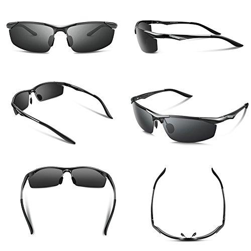 Lunettes de soleil homme Paerde - Lunettes de sport polarisées - Lunettes de conduite avec monture en métal Incassable - 100% anti UV400 Noir