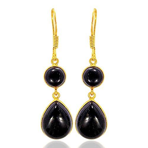 Gold Vermeil Onyx Earrings - Fashion 18k Gold Vermeil Black Onyx Gemstone Bezel Set Dangle Earrings