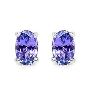 0.80 Carat Genuine Tanzanite .925 Sterling Silver Earrings