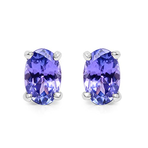 0.80 Carat Genuine Tanzanite .925 Sterling Silver Earrings
