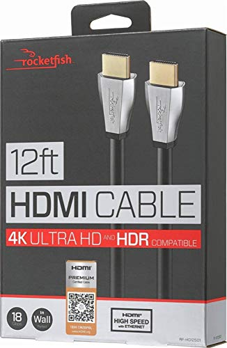 (Rocketfish 12' Ft. In-wall Hdmi Cable 18gbps Ultra Hd 4k X 2k 1080+ with Ethernet High Speed)