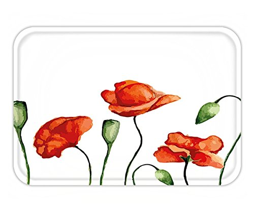 Minicoso Doormat Flower Decor Floral Theme Watercolor Style Effect Poppies Blossom Illustration Fern Green and - Scarlet Soho