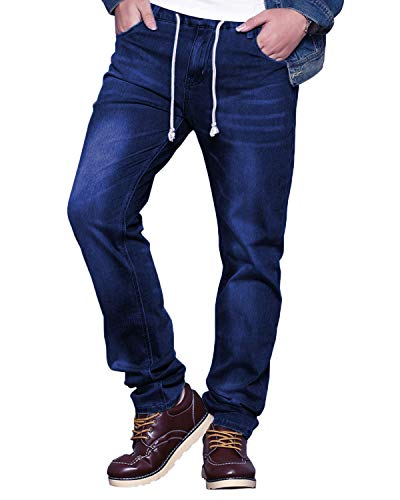 HEMIKS Men's Comfy Stretch Drawstring Elastic Waist Regular Fit Denim Jeans Pants Light Blue (Deep Blue, Medium) ()