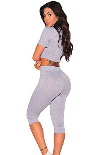 Grau jeden Tag Zwei-teiliges Set Hose Jumpsuit Catsuit Clubwear Kleidung Größe M UK 6�?