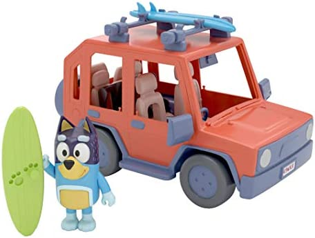 Bluey, 4WD Family Vehicle, with 1 Figure and 2 Surfboards | Customizable Car – Adventure Time | for Ages 3+