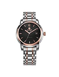 Binlun Men's Japanese Automatic Movement Hand Watch with Perpetual Calendar-Black Dial