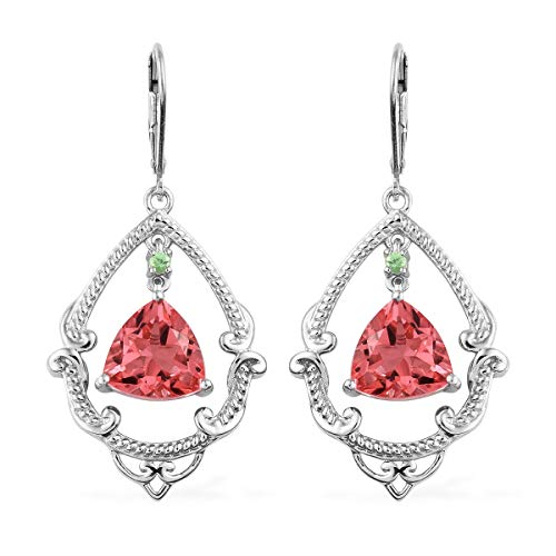 Dangle Drop Earrings 925 Sterling Silver Platinum Plated Triplet Quartz Coral Tsavorite Garnet Jewelry for Women Ct 6 ()
