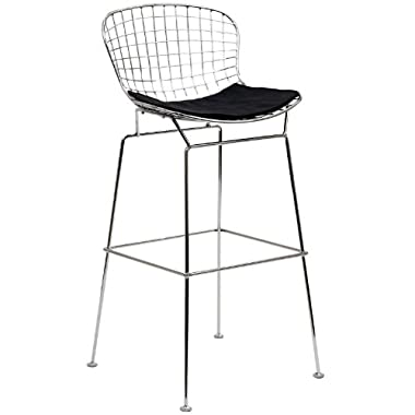 LexMod Bertoia Style Stool with Black Seat Cushion
