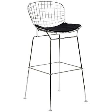 LexMod Bertoia Style Stool with Black Seat Cushion