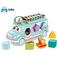 FunBlast 3 in 1 Bus Toy Includes Xylophone, Pull Along Toy and Shape Sorter Toys - Random Color Dispatch