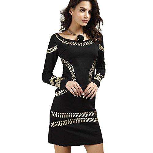 Max Womens Round Neck Long Sleeve Bronzing Printing Elegant Cocktail Party Bodycon Pencil Slim Dress Skirt (XX-Large, Black)