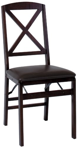 Cosco 2-Pack Wood Folding Chair with Vinyl Seat and X-Back, Espresso by Cosco