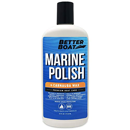 Boat Polish with Carnauba Wax for High Gloss Marine Fiberglass Metal Painted Surfaces and More Boats RV and Cars (Best Polish For Fiberglass Rv)