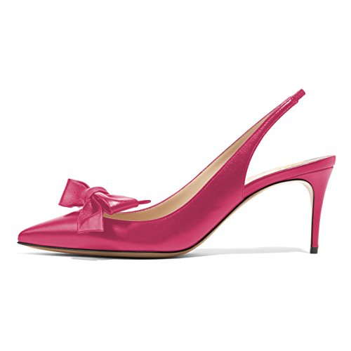 ebay online browse cheap online XYD Women Fashion Pointed Toe Slingback Pumps High Heel Slip on Dress Shoes With Bows Hot Pink for sale footlocker E1WWb0