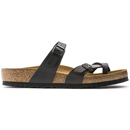 Birkenstock Women's Mayari Adjustable Toe Loop Cork Footbed Sandal Black 38 M EU by Birkenstock