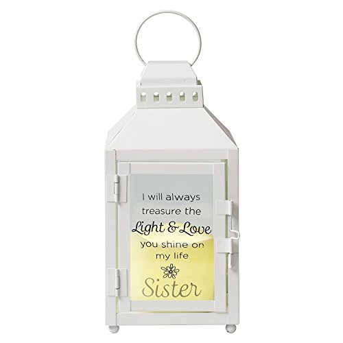 Light & Love Sister Lantern - Metal and Glass Lantern with Flickering LED Candle