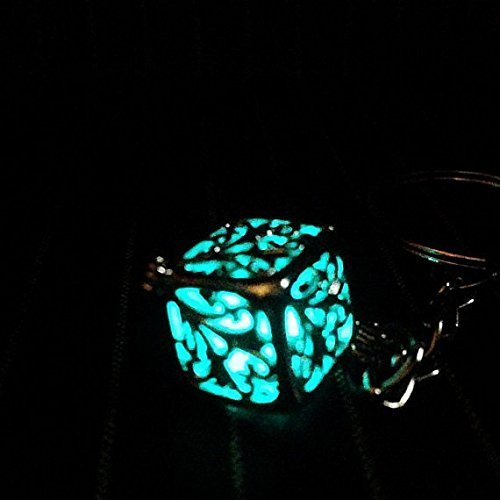 Aeris Accessory (Final Fantasy Inspired Blue Caged Materia Cube Keychain, Steampunk or Cosplay Accessory with Keyring)