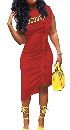 Clubwear Dresses Dress Bodycon Women Red Jaycargogo Ruched Sheath Stretch Mini FgC08q