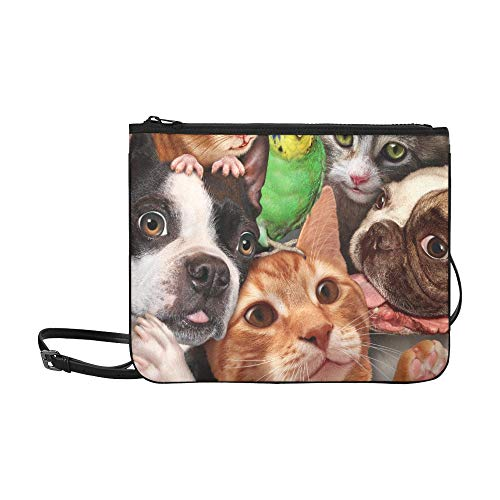 Group Cat Dog Hamster Parrot Pattern Pattern Custom High-grade Nylon Slim Clutch Bag Cross-body Bag Shoulder Bag (Best Hamsters For Beginners)