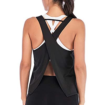 DREAM SLIM Women Cute Sexy Yoga Shirts Tie Back Loose Workout Sports Racerback Crop Tank Tops at Women's Clothing store