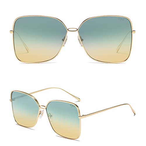 SOJOS Fashion Oversized Square Sunglasses for Women Flat Mirrored Lens SJ1082 with Gold Frame/Green and Brown Lens