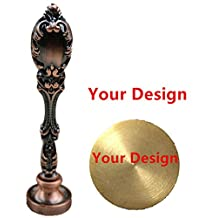 MNYR Red Brass Customized Your Design Personalized Picture Logo Letters Monogram Text Wax Seal Sealing Stamp Vintage Peacock Copper Handle Set