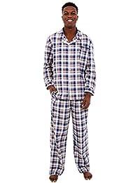 Mens Cotton Striped and Plaid Pajamas, Long Woven Pj Set