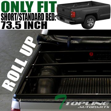 Topline Autopart Lock Roll Up Soft Vinyl Truck Bed Tonneau Cover For 95-04 Toyota Tacoma ; 89-94 Toyota Pickup Regular (Standard) / Access (Extended) Cab 6 Feet (72